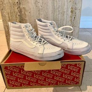 Vans SK8 Hi Slim Zip Perf Leather True White